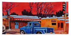 Bath Towel featuring the painting Taos Blue Truck At Dusk by Art West