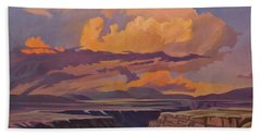 Bath Towel featuring the painting Taos Gorge - Pastel Sky by Art James West
