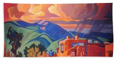 Bath Towel featuring the painting Taos Inn Monsoon by Art James West