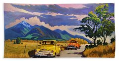 Bath Towel featuring the painting Taos Joy Ride With Yellow And Orange Trucks by Art West