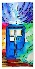 Hand Towel featuring the drawing Tardis Illustration Edition by Justin Moore