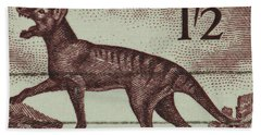 Tasmanian Tiger Vintage Postage Stamp Bath Towel by Andy Prendy