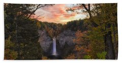 Taughannock Falls Autumn Sunset Hand Towel