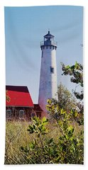 Bath Towel featuring the photograph Tawas Point Lighthouse...from Tawas Bay Side by Daniel Thompson