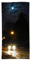 Bath Towel featuring the photograph Taxi In Full Moon by Nina Silver