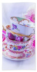 Tea Cups With Pink Mums Hand Towel