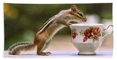 Tea Time With Chipmunk Hand Towel by Peggy Collins