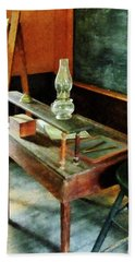 Teacher's Desk With Hurricane Lamp Bath Towel