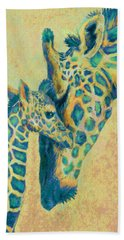 Teal Giraffes Bath Towel
