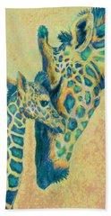 Teal Giraffes Hand Towel by Jane Schnetlage