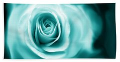 Teal Rose Flower Abstract Bath Towel