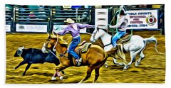Team Ropers Hand Towel by Alice Gipson