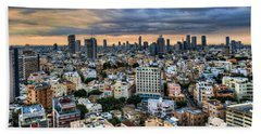 Bath Towel featuring the photograph Tel Aviv Skyline Winter Time by Ron Shoshani
