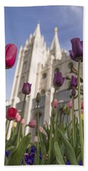 Temple Tulips Bath Towel