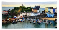 Bath Towel featuring the photograph Tenby Harbour Panorama by Jeremy Hayden