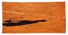 Tennis Player Shadow On A Clay Tennis Court Bath Towel