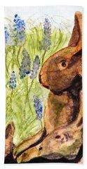 Terra Cotta Bunny Family Hand Towel by Angela Davies