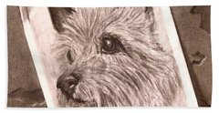 Terrier As Optical Illusion Bath Towel