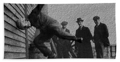 Testing Football Helmets In 1912 Ouchhhhh Hand Towel