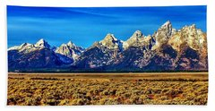 Bath Towel featuring the photograph Teton Panorama by Benjamin Yeager