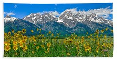 Teton Peaks And Flowers Hand Towel