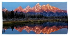 Bath Towel featuring the photograph Teton Sunrise by Benjamin Yeager