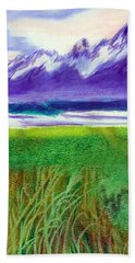 Bath Towel featuring the mixed media Teton View by C Sitton