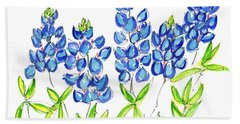 Texas Bluebonnets Watercolor Painting By Kmcelwaine Bath Towel