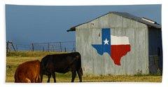Texas Farm With Texas Logo Hand Towel
