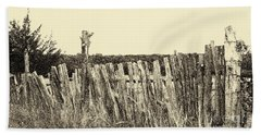 Texas Fence In Sepia Bath Towel