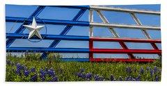 Texas Flag Painted Gate With Blue Bonnets Bath Towel