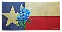 Texas Flag With Bluebonnets Hand Towel
