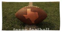 Texas Football Art - Leather State Emblem On Marked Field Bath Towel