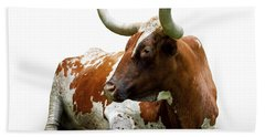 Texas Longhorn Bull Hand Towel by Charles Beeler