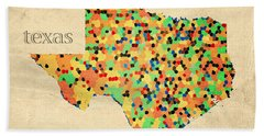 Texas Map Crystalized Counties On Worn Canvas By Design Turnpike Bath Towel