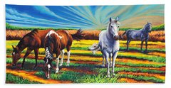Texas Quarter Horses Hand Towel by Greg Skrtic
