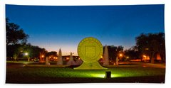 Bath Towel featuring the photograph Texas Tech Seal At Night by Mae Wertz