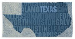 Texas Word Art State Map On Canvas Bath Towel
