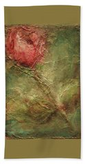 Bath Towel featuring the painting Textured Rose Art by Mary Wolf