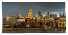 Thames With St Paul's Panorama Bath Towel
