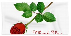 Thank You Card Red Rose Bath Towel