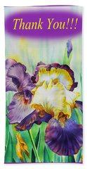 Thank You Iris Flower Bath Towel