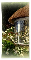 Thatched Cottage Window Bath Towel by Carla Parris