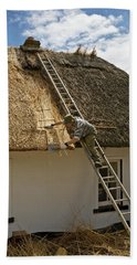 Thatching A Cottage,dunmore East Bath Towel