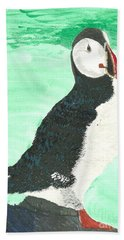 Bath Towel featuring the painting That's Another Puffin Year Over by Tracey Williams