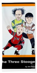 The 3 Stooges Playing Roller Derby Hand Towel by Jim Fitzpatrick