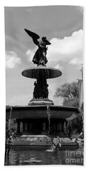 The Angel Of Waters B W - Central Park  Nyc Bath Towel