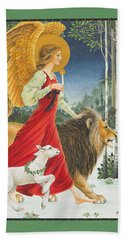The Angel The Lion And The Lamb Hand Towel