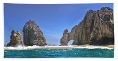 Bath Towel featuring the photograph The Arch  Cabo San Lucas On A Low Tide by Eti Reid