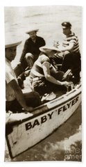 The Baby Flyer With Ed Ricketts And John Steinbeck  In Sea Of Cortez  1940 Hand Towel